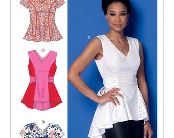 Sewing Pattern for Misses' V-Neck Fit and Flare or Godet Tops, McCall's Pattern 7356,  Peplum Blouse, Tie Sash Top