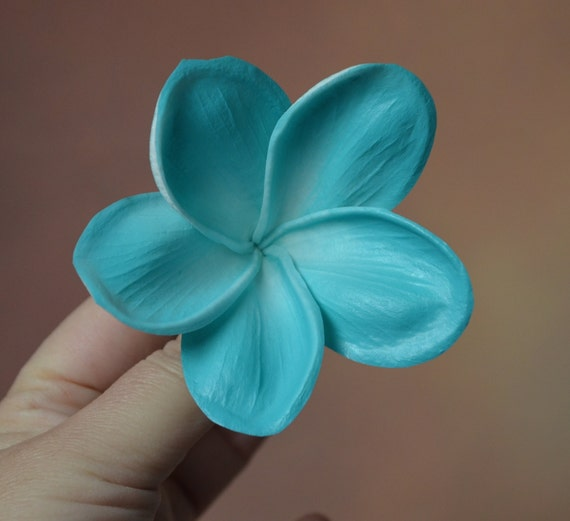 Aqua plumerias real touch flowers blue artificial silk mightylinksfo
