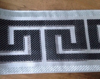 "3-3/4"" Gray/Silver  Greek Key Trim, Greek Key Jacquard Trim, Greek Key 95 mm Woven Jacquard Greek Key Trim , Greek Key, Home Decor Trim"