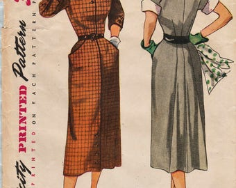 Simplicity 3487 / Vintage 50s Sewing Pattern / Dress / Size 16 Bust 34
