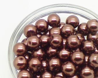 Brown glass pearls; pretty light brown, round glass pearl beads, 8mm, 12pcs/1.80.