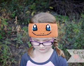 Charmander Headband, earwarmer, Pokemon go, Crochet By Allie