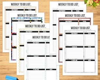 Weekly To Do List Collection - Editable PDF files - 7 different patterns