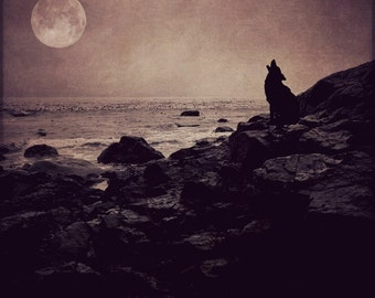 full moon fine art photo wolf howling, landscape photography, dramatic home decor wall large purple pink ocean surreal spirit animal