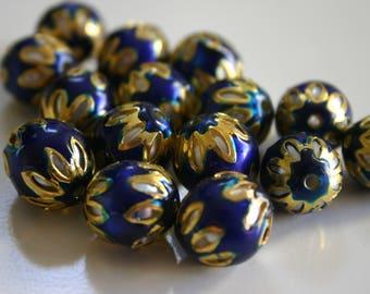 SALE Deep Blue spheres - Floral Cloisonné Meena beads (2) 13mm