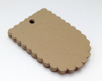 50 Kraft Scalloped Tags - Scalloped Gift Tag - Favor Tag - Rustic Wedding Tag - Natural Tag - Kraft Gift Tag - Merchandise Tag - Price Tag