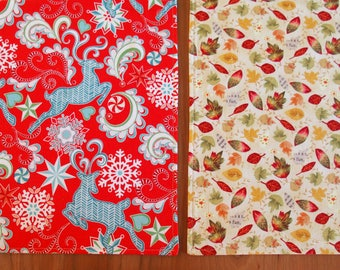 Christmas and Thanksgiving Placemats with Reindeer, Snowflakes, Falling Leaves in Red, Aqua Blue, Green, Yellow, Orange,  Reversible Holiday