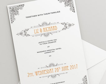 Printable Wedding Invitation Download 'Ornate' // DIY TEMPLATE// Word Mac or PC // 5 x 7 // Change artwork colour // Luxury Design
