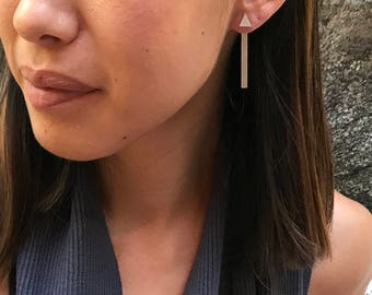 Stick front back earring - double sided/jackets earring/bar/line/geometric/pure silver/minimal/modern
