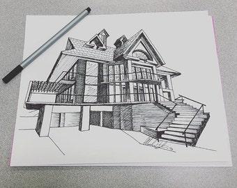 Pen & Ink sketch - House