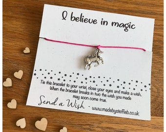 Unicorns Wish Bracelet, unicorn Party Favours, Best friend gift, unicorns are real, I believe in unicorn, believe in magic, Wish Bracelet