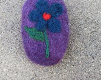 Humble Farm Homemade Hand Felted Soap Purple With Flower