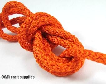 Acetino braided silk cord, 6mm, orange, / 2 meters