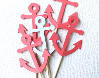 Nautical Anchor Cupcake Toppers, Dark Coral, Baby Shower, Wedding, Party Decor, Double-Sided, Set of 18