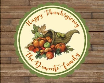 Personalized Thanksgiving Stickers - Happy Thanksgiving Stickers  -  Happy Thanksgiving Tags - Cornucopia Stickers
