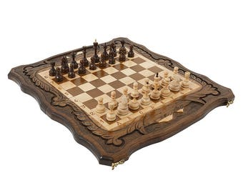 Large Walnut wooden Chess Set - 3 in 1 chess, backgammon, checkers - Handmade High Detail Wooden Game Armenian Aarat