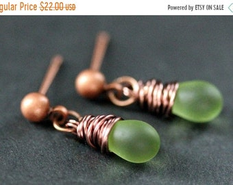 MOTHERS DAY SALE Copper Earrings - Frosted Green Teardrop Earrings. Dangle Earrings. Stud Post Earrings. Handmade Jewelry.