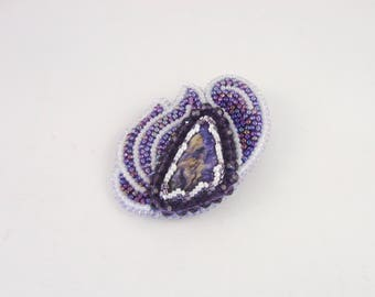 Irida's flowers. Bead embroidery brooch with Charoitite cabochon