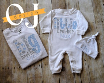 Big Brother Little Brother Personalized Baby Boy Newborn Gift Set- Name Boy Blue and Gray -  Infant Sleeper and Knot Hat - Big Brother Shirt