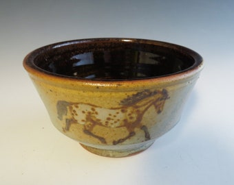 Round Soup Bowl 3 Appaloosa Horses