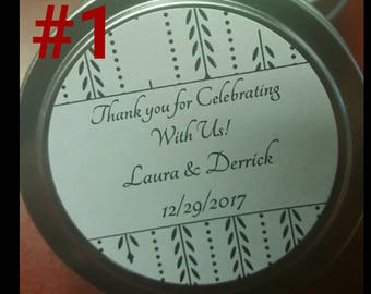 Personalized Soy 4oz Candle Tin.  Perfect for Weddings, Baby Showers, Parties, Events, Etc.