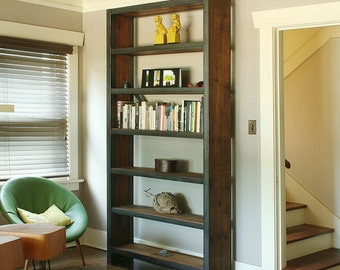 shelving from recycled steel and reclaimed wood - island barn case - rustic, modern, industrial
