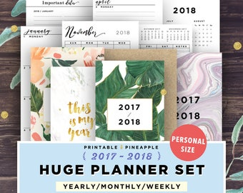 Printable Planner Inserts PERSONAL, Planner 2018 | Daily, Weekly, Monthly Spread, Covers, Filofax Personal Size Agenda, Ring Bound