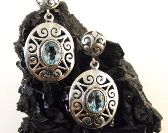 Sky Blue Topaz and Sterling Silver Earrings