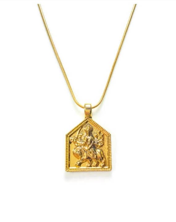 Durga gold pendant necklace gold filled chain option mozeypictures Image collections