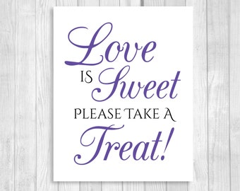 SALE Love is Sweet Take A Treat Wedding or Bridal Shower 5x7, 8x10 Printable Candy Buffet Sign - Black and Deep Purple - Instant Download