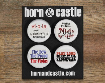 Viola Ninja and Music Pinback Buttons or Magnets - set of four - size one inch - VLA 2