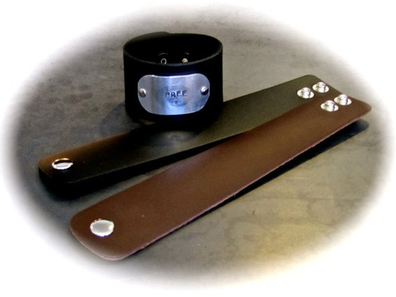 "5 Leather Cuff - 1-1/2"" Wide Wrist Band Blanks Black or Espresso with Metal Snaps - QTY 5"