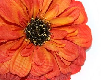 Red Orange Dry Look Zinnia Pick- Artificial Flowers, Silk Flowers