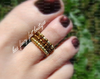 Stacking Toe Ring, Stacking Rings, Gold Toe Ring, Copper Toe Ring, Pattern Bead Toe Ring, Pattern Bead Ring, Stretch Bead Toe Rings