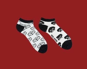 Chaussettes courtes Aragon, tête de mort des chaussettes, chaussettes fantaisie, chaussettes de l'été, chaussettes blanches, chaussettes pour hommes et femmes, chaussettes de femmes blanches