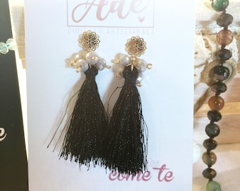 Earrings of tassels and crystals