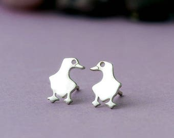 Duck Earrings Cute Bird Stud Earrings sterling Silver Bird Jewelry christmas gift girl gift for her gift for mom kid gift best friend gift