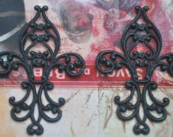 TWO Fleur de Lys Brass Stampings, Black Satin Finish, Filigrees and Brass Stampings made in the USA