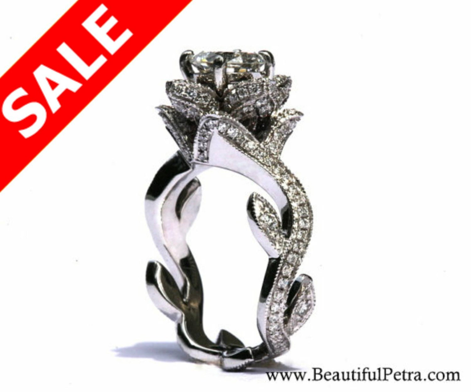 lotus rose ring jewelry engagement models print mtl model flower stl leaves obj rings