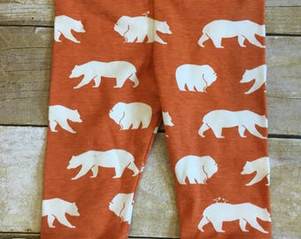 SALE! 9 month organic baby leggings - baby boy cuffed pants - baby gift - gender neutral baby - bear print pants - ready to ship