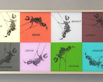 8 Mood Swings - Framed Fused Glass Panel.  Features a nostalgic photo image of a boy on a swing, representing 8 very different emotions
