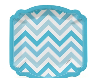 8 Count - Chevron Blue Dessert Plates - Baby Shower or Birthday Party Supplies