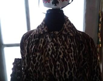 Vintage Faux Leopard Print Jacket with Belt!