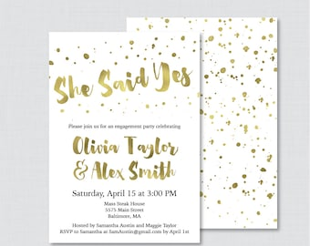White and Gold Engagement Party Invitation Printable or Printed - Faux Gold Foil Engagement Party Invitations - White and Gold Party 0010-G