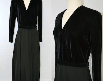 1980s Black Velour Bodice, Long Sleeve Formal Dress by Chetta B, Sherrie Bloom, Peter Noviello