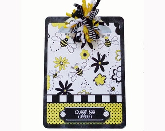 Altered Decorative Personalized Clipboard Queen Bee
