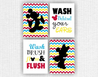 INSTANT DOWNLOAD Mickey Mouse and Minnie Mouse Bathroom wall art Set of 4, 5x7, Wash Brush Floss Flush, Wash behind your ears