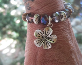Bohemian Bracelet - Flower Charm - Wood Beads - Labradorite Beads - Stackable Stretch Bracelet
