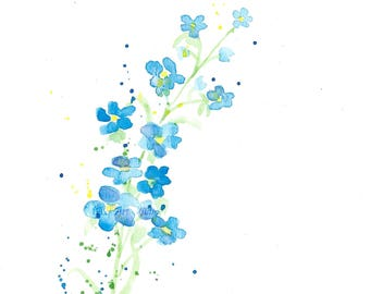 Watercolor Painting, Watercolour Forget Me Not Painting, ACEO Print, Flower Painting, Mini Art Print, Flower Watercolor Print, ACEO Painting