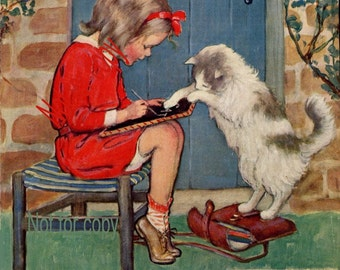 Jessie Wilcox Smith Kitties Lesson print Good Housekeeping print